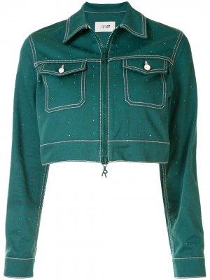 Укороченная джинсовая куртка Kirin. Цвет: зеленый