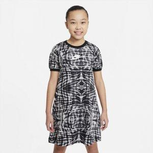 Платье с коротким рукавом и принтом для девочек школьного возраста Nike Sportswear - Черный