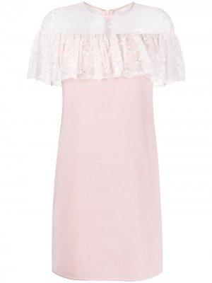 Кружевное платье мини с оборками Giambattista Valli. Цвет: розовый