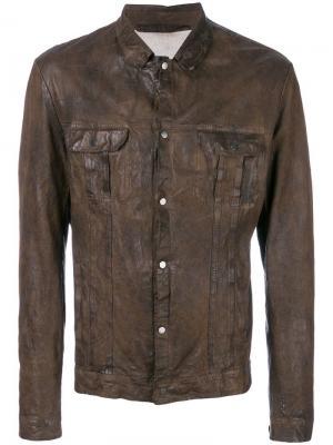 Кожаная куртка в стилистике рубашки Salvatore Santoro. Цвет: коричневый