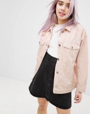 Цветная джинсовая куртка свободного кроя Monki. Цвет: розовый