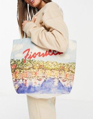 Большая сумка-тоут с живописным принтом -Многоцветный Fiorucci
