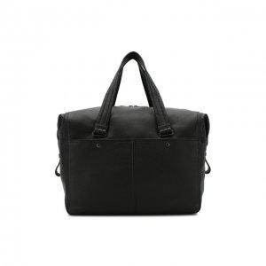 Кожаная дорожная сумка на молнии с плечевым ремнем Bottega Veneta. Цвет: чёрный