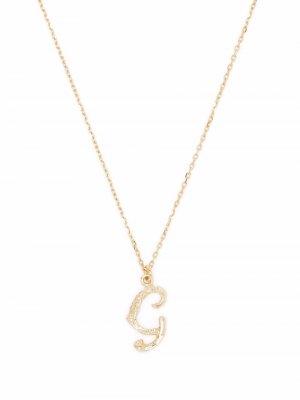Колье Enchanted Twig Alphabet G из желтого золота Alex Monroe. Цвет: золотистый