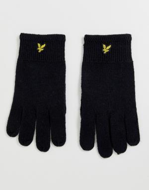 Черные шерстяные перчатки в рубчик -Черный Lyle & Scott