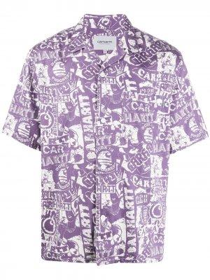 Рубашка с короткими рукавами и логотипом Carhartt WIP. Цвет: фиолетовый