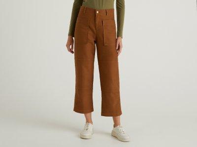 Укороченные брюки Benetton. Цвет: коричневый