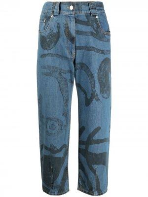 Укороченные джинсы с графичным принтом Kenzo. Цвет: синий