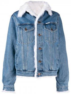 Джинсовая куртка с отделкой из искусственного меха Forte Dei Marmi Couture. Цвет: синий