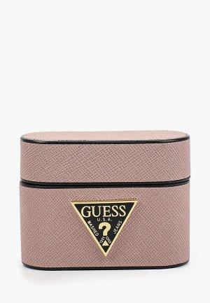 Чехол для наушников Guess Airpods Pro, Saffiano PU leather case with metal logo Pink. Цвет: розовый