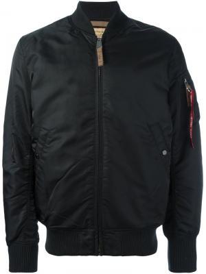 Дутая куртка бомбер Alpha Industries. Цвет: черный