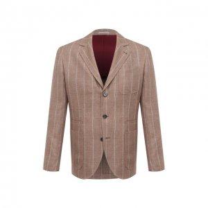Пиджак изо льна и шерсти Brunello Cucinelli. Цвет: бежевый