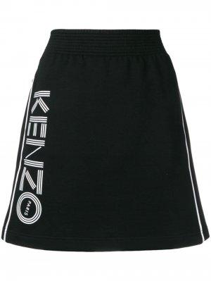 Юбка А-силуэта в спортивном стиле Kenzo. Цвет: черный
