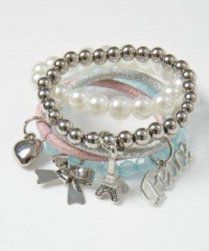 Комплект браслетов для девочек O`Stin. Цвет: блестящий серебряный