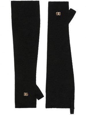 Шерстяные перчатки-митенки Dolce & Gabbana. Цвет: черный