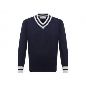 Хлопковый пуловер Brunello Cucinelli. Цвет: синий