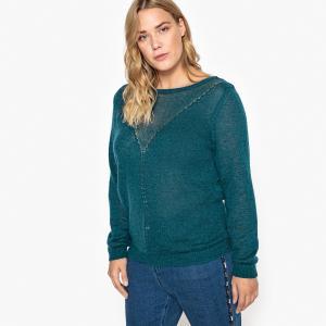Пуловер с круглым вырезом из тонкого ажурного трикотажа CASTALUNA. Цвет: розовая пудра,сине-зеленый