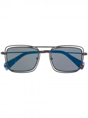 Солнцезащитные очки в квадратной оправе Yohji Yamamoto. Цвет: синий