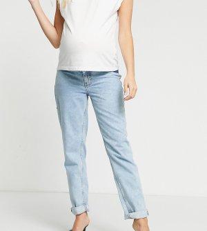 Светлые джинсы в винтажном стиле с высокой талией и эластичными вставками по бокам ASOS DESIGN Maternity-Синий Maternity