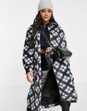 Длинная куртка-рубашка из искусственного меха в клетку -Мульти Jayley