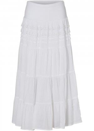 Ступенчатая макси-юбка bonprix. Цвет: белый