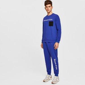 Мужские джоггеры и пуловер с текстовым принтом, карманом SHEIN. Цвет: синий