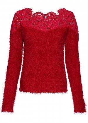 Пуловер с кружевной отделкой bonprix. Цвет: красный