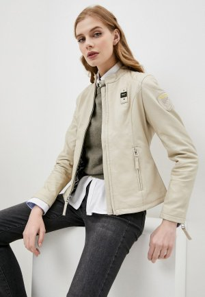 Куртка кожаная Blauer USA. Цвет: бежевый