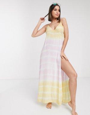 Пляжное платье-комбинация для груди большого размера с принтом тай-дай -Мульти ASOS DESIGN