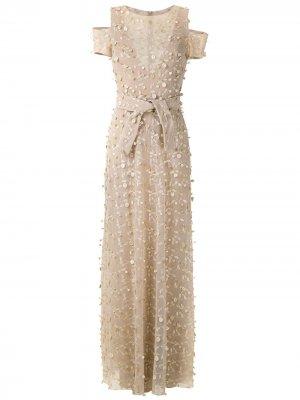Вечернее платье макси Gloria Coelho. Цвет: нейтральные цвета