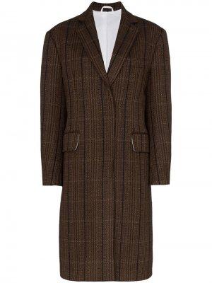 Твидовое пальто в стиле оверсайз Calvin Klein 205W39nyc. Цвет: коричневый