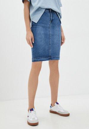 Юбка джинсовая Vilatte. Цвет: синий