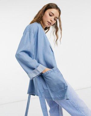 Голубая джинсовая куртка с ремнем -Голубой Pieces