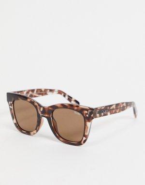 Квадратные солнцезащитные женские очки в большой черепаховой оправе -Коричневый цвет Quay Australia