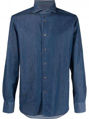 Джинсовая рубашка с длинными рукавами Corneliani. Цвет: синий