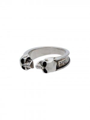 Сдоенное кольцо с черепами Alexander McQueen. Цвет: золотистый