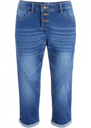 Укороченные джинсы стретч в стиле бойфренда bonprix. Цвет: синий