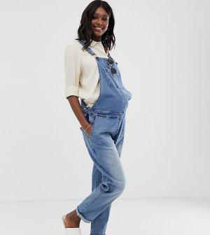 Свободный джинсовый комбинезон Maternity-Синий Bandia