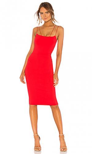 Платье миди asymmetrical strap David Lerner. Цвет: красный