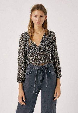 Блуза Pull&Bear. Цвет: черный