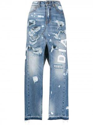 Джинсовая юбка с завышенной талией и разрезом John Richmond. Цвет: синий