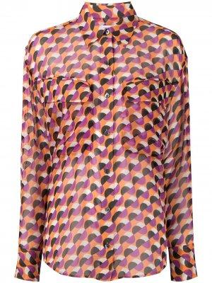 Блузка Nanine с геометричным узором Equipment. Цвет: оранжевый