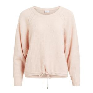 Пуловер с круглым вырезом, из тонкого трикотажа VILA. Цвет: розовая пудра