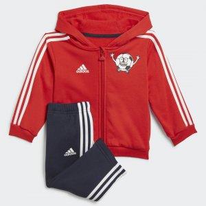 Флисовый спортивный костюм Lil 3-Stripes Performance adidas. Цвет: красный