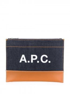 Клатч с логотипом и контрастной вставкой A.P.C.. Цвет: синий