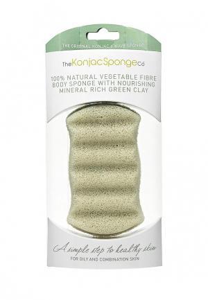 Спонж для тела The Konjac Sponge Co мытья Premium Six Wave Body Puff with French Green Clay (премиум-упаковка)