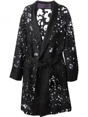 Кружевное пальто devoré с поясом Emanuel Ungaro. Цвет: чёрный