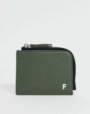 Бумажник на молнии из искусственной кожи -Зеленый цвет Fenton