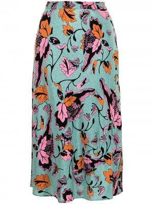 Юбка Beverley с цветочным принтом DVF Diane von Furstenberg. Цвет: синий