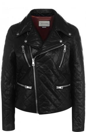 Стеганая кожаная куртка с декорированной спинкой Gucci. Цвет: черный